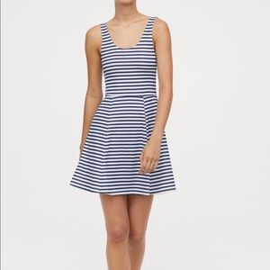 H&M | White Striped Fit & Flare Dress US 6